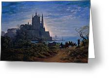 Gothic Church On A Rock By The Sea  Greeting Card