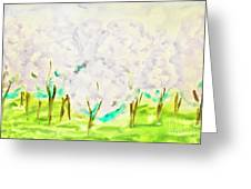 Hand Painted Picture, Spring Garden Greeting Card