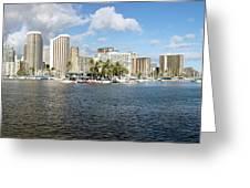 Honolulu Skyline Panorama Greeting Card