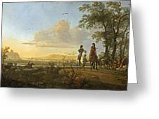 Horsemen And Herdsmen With Cattle Greeting Card