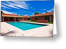 House And Pool Greeting Card