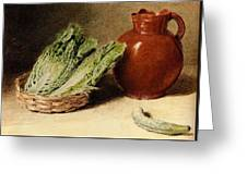 Hunt William Henry Still Life With A Jug A Cabbage In A Basket And A Gherkin William Henry Hunt Greeting Card