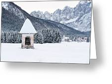 Idyllic Landscapes Immersed In The Snow. The Dream Of The Julian Alps And Valbruna Greeting Card