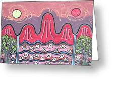 Ilwolobongdo Abstract Landscape Painting Greeting Card