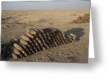Inert Artillery Shells Are Stacked Greeting Card by Terry Moore