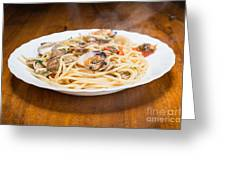 Italian Spaghetti And Clams Made In Naples Greeting Card