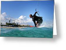 Kitesurfing Greeting Card by Stylianos Kleanthous
