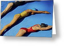 3 Lady Swimmers Greeting Card