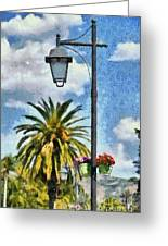 Lampost With Flowers In Nafplio Town Greeting Card