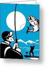 Largemouth Bass Fish And Fly Fisherman Greeting Card