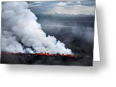 Lava And Plumes From The Holuhraun Greeting Card