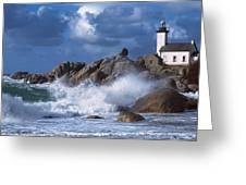 Lighthouse On The Coast, Pontusval Greeting Card