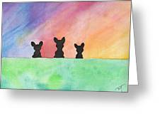 3 Little Bostons Greeting Card