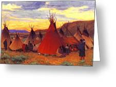 lrs Sharp Joseph Henry Evening Crow Reservation Joseph Henry Sharp Greeting Card