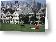 Man And Dog In Alamo Square In San Francisco Greeting Card