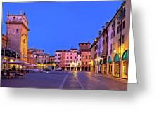 Mantova City Piazza Delle Erbe Evening View Panorama Greeting Card