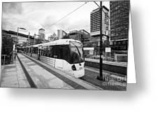 metrolink trams at mediacity station Manchester uk Greeting Card
