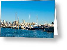 Miami Florida City Skyline Morning With Blue Sky Greeting Card