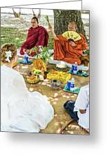 Monks Blessing Buddhist Wedding Ceremony In Cambodia Greeting Card