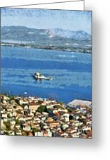 Nafplio Town And Bourtzi Fortress Greeting Card