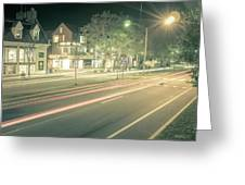 Newport Rhode Island City Streets In The Evening Greeting Card
