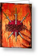 3 Of Swords Greeting Card
