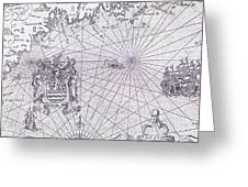 Part Of Captain J Smith's Map Of New England Greeting Card