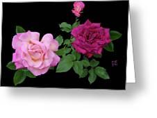 3 Pink Roses Cutout Greeting Card