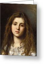 Portrait Of A Young Girl Alexei Alexeivich Harlamoff Greeting Card