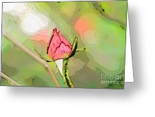 Red Garden Rose Bud Greeting Card