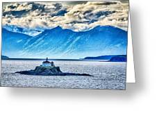 Remote Lighthouse Island Standing In The Middle Of Mud Bay Alask Greeting Card