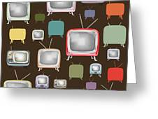 retro TV pattern  Greeting Card