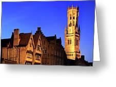 River Dijver And The Belfort At Night, Rozenhoedkaai, Bruges Greeting Card