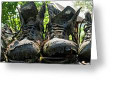 Row Of Old Leather Worn Out Shoes  Greeting Card