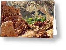 Ruins Basgo Monastery Leh Ladakh Jammu And Kashmir India Greeting Card