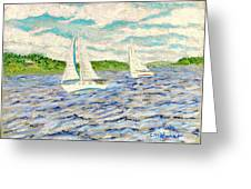Sailing On Casco Bay Greeting Card by Collette Hurst
