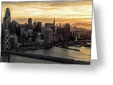 San Francisco City Skyline At Sunset Aerial Greeting Card