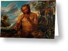 Satyr Playing The Pipe Greeting Card