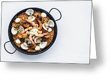 Seafood And Rice Paella Traditional Spanish Food Greeting Card