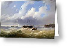 Ships On A Stormy Sea Greeting Card