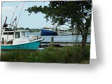 3 Shrimp Boat At Billys Greeting Card