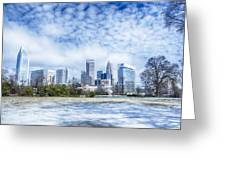 Snow And Ice Covered City And Streets Of Charlotte Nc Usa Greeting Card