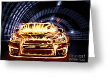 Sports Car In Flames Greeting Card