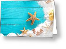 Summer Background On Wood Greeting Card