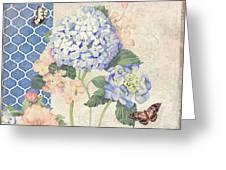 Summer Memories - Blue Hydrangea N Butterflies Greeting Card