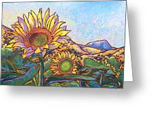 3 Sunflowers Greeting Card by Nadi Spencer
