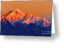 Sunrise On Mount Kanchenjugha At Dawn Sikkim Greeting Card