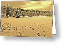 Sunset At Winter Lake Greeting Card