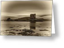 Sunset Over Castle Stalker,  Scotland, United Kingdom Greeting Card