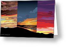 3 Sunsets Greeting Card